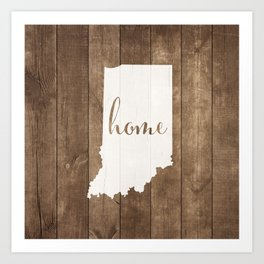Indiana is Home - White on Wood Art Print
