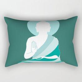 Teal Minimalist Buddha Graphic Rectangular Pillow