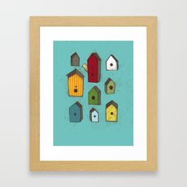Bird houses Framed Art Print
