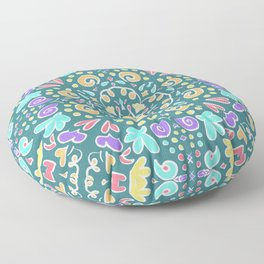 Teal Tile Design Floor Pillow