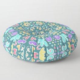 Teal Tile Design Floor Pillow