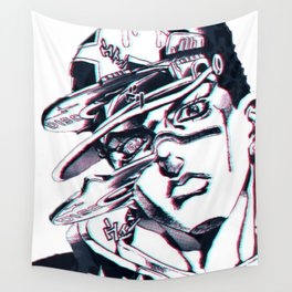 Jotaro Kujo from Jojo's bizarre adventure affected by Whitesnake Wall Tapestry