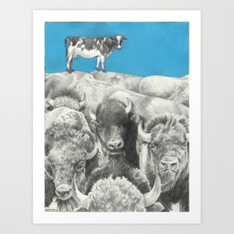 Atop the Herd - Digitally Altered Graphite Drawing - 2014 Art Print