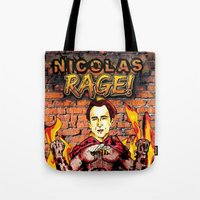 nicolas cage Tote Bags featuring Nicolas Rage by Butt Ugly Co
