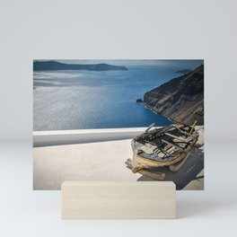 Santorini View & Wooden Boat Mini Art Print