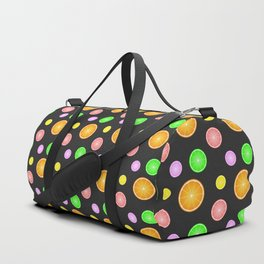 Orange, lemon, lime and grapefruit summer party pattern Duffle Bag
