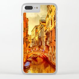 Golden Venice Canal Clear iPhone Case