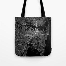 Sydney Black Map Tote Bag