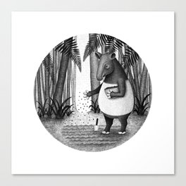 Tapirs are gardeners of forest | Black and White Illustration Canvas Print