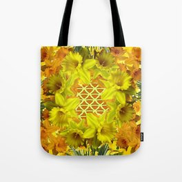 GOLDEN YELLOW SPRING DAFFODILS PATTERN GARDEN Tote Bag