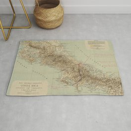 Vintage Map of Costa Rica (1896) Rug