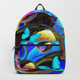 SURREAL NEON BLUE BUTTERFLIES IRIDESCENT SOAP BUBBLES PEACOCK EYES Backpack