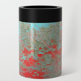 texture - aqua and red paint Can Cooler