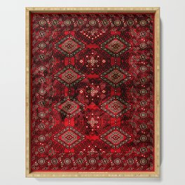 N129 - Epic Royal Red Oriental Traditional Moroccan Style Fabric Design  Serving Tray