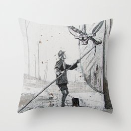 Boat Cleaner Throw Pillow