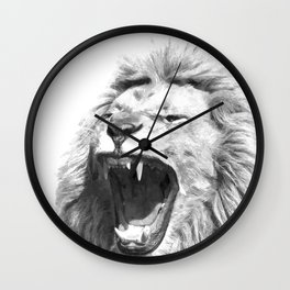 Black White Fierce Lion Wall Clock