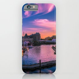 Photo Canada Victoria British Colombia Ships sunrise and sunset Bay Berth Evening speedboat Cities Building ship Sunrises and sunsets Pier Marinas Motorboat powerboat Houses iPhone Case