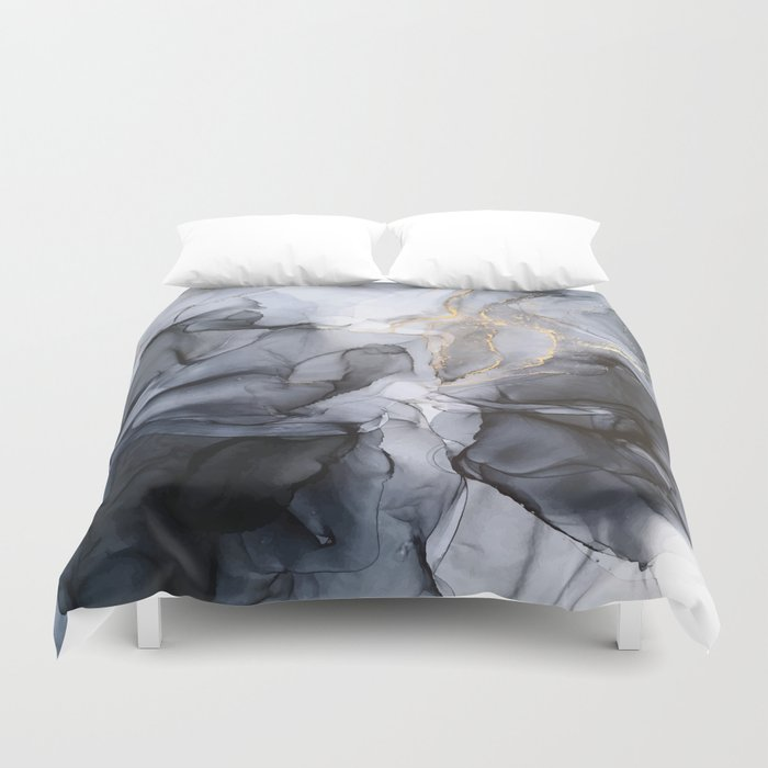 Calm but Dramatic Light Monochromatic Black & Grey Abstract Duvet Cover