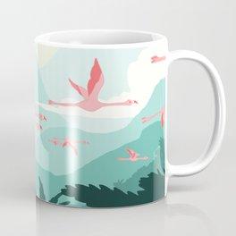 Flamingos flying through the Tropics Coffee Mug
