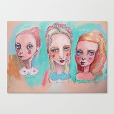 White, Blue and Pink Collared Canvas Print