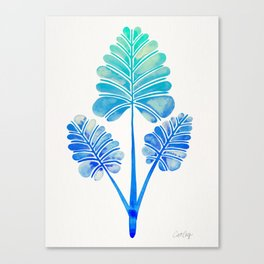 Tropical Palm Leaf Trifecta – Blue Ombré Palette Canvas Print