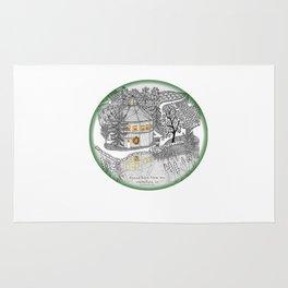 Round Barn Inn, Waitsfield, Vermont near Sugarbush- Zentangle illustration Rug