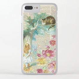 Vintage Floral Alice In Wonderland Clear iPhone Case