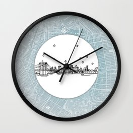 Brooklyn, New York City Skyline Illustration Drawing Wall Clock