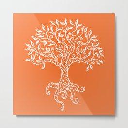 Tree of Life Orange Metal Print