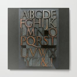 Vintage Letter Press Alphabet Metal Print