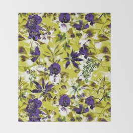 Vibrant floral abstract pattern Throw Blanket
