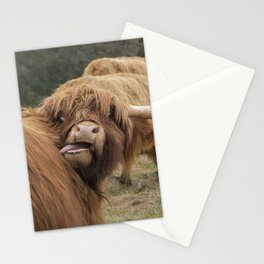 Funny Scottish Highland cow Stationery Cards