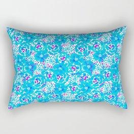 Watercolor Bouquet in Blue Bonnet + Electric Lilac Rectangular Pillow
