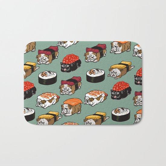 Sushi English Bulldog Bath Mat