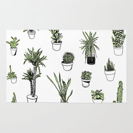 Plant Wall Succulent Pattern Rug