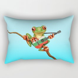 Tree Frog Playing Acoustic Guitar with Flag of Bulgaria Rectangular Pillow