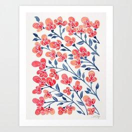 Cherry Blossoms – Melon & Navy Palette Art Print