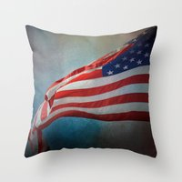 american flag Throw Pillows featuring American Flag by Jai Johnson