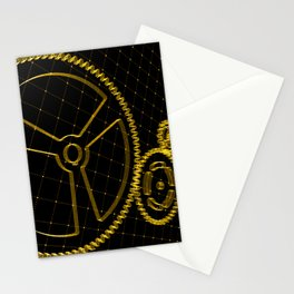 Set of orange gears and cogs on virtual screen Stationery Cards