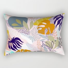 Tropical Retro Boho Foliage Pattern - Pink Rectangular Pillow