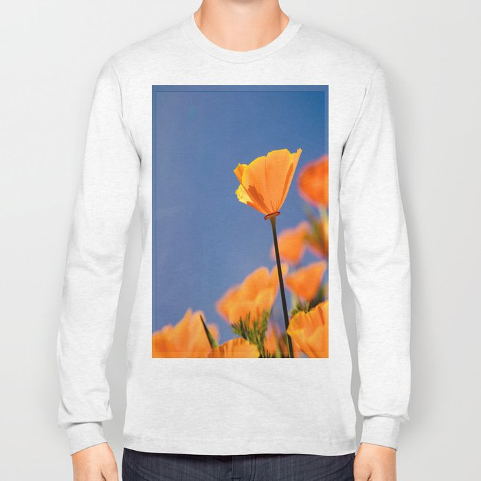 Poppies on Blue Long Sleeve T-shirt