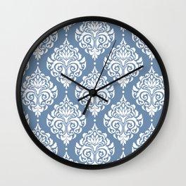 Sky Blue Damask Wall Clock