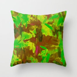 green yellow brown painting texture abstract background Throw Pillow