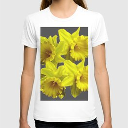 YELLOW SPRING DAFFODILS & CHARCOAL GREY COLOR T-shirt