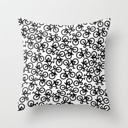 Black Bikes Pattern Throw Pillow