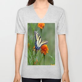 Yellow female Eastern Tiger Swallowtail  Unisex V-Neck