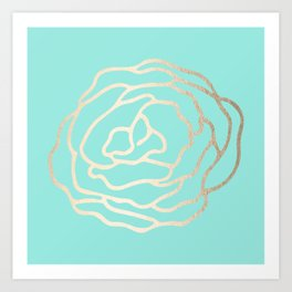 Flower in White Gold Sands on Tropical Sea Blue Art Print