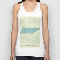 tennessee Tank Tops featuring Tennessee State Map Blue Vintage by City Art Posters