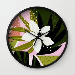 Tropical Flowers and Foliage 1940s Hollywood Bungalow Style Wall Clock