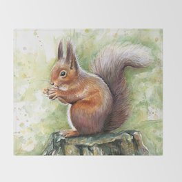 Squirrel and Nut Forest Animals Watercolor Throw Blanket